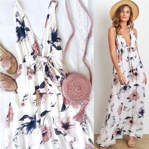 Low Cut Floral Print Maxi White Dress Pink Flowers